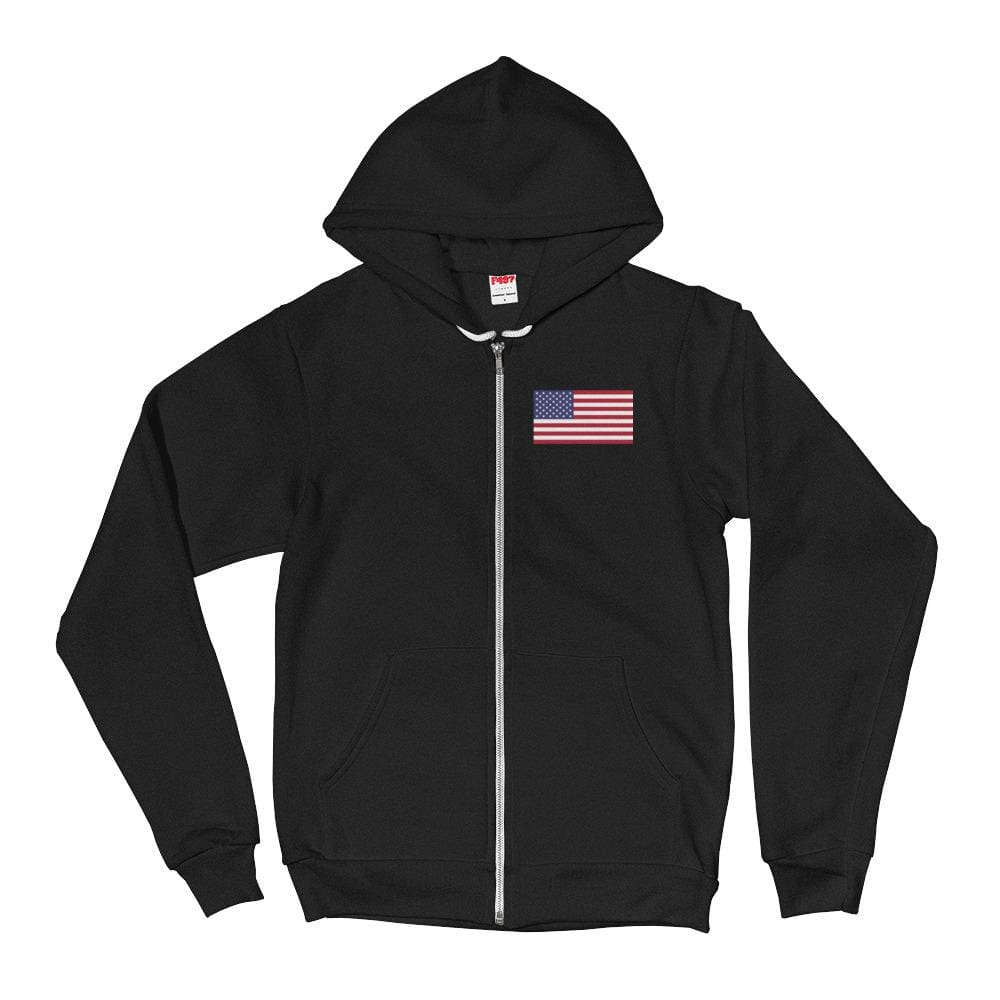 American Flag *MADE IN THE USA* Zip-up Hoodie - Black / XS