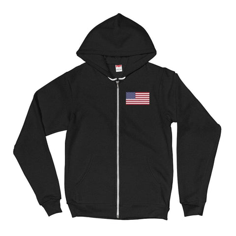 Image of American Flag *MADE IN THE USA* Zip-up Hoodie - Black / XS