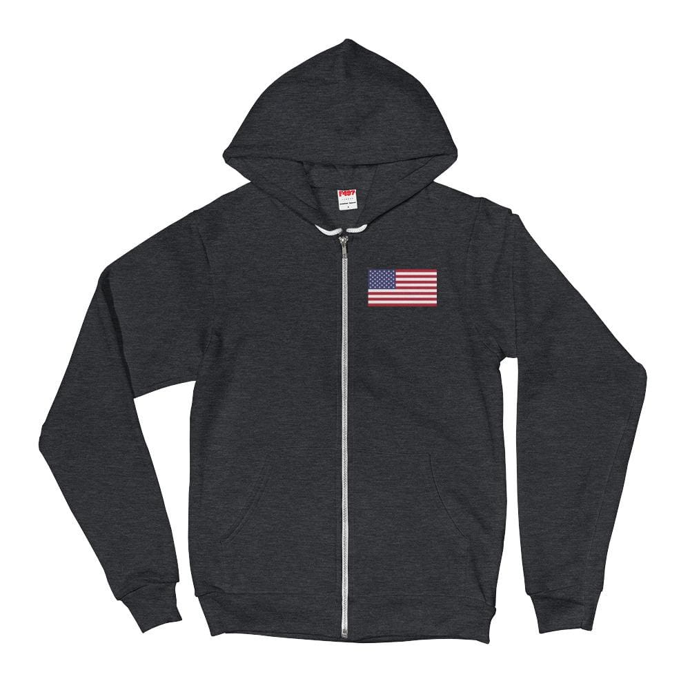 American Flag *MADE IN THE USA* Zip-up Hoodie - Dark Heather Grey / XS