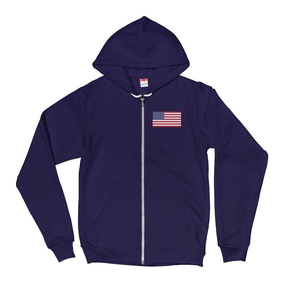 American Flag *MADE IN THE USA* Zip-up Hoodie - Navy / XS