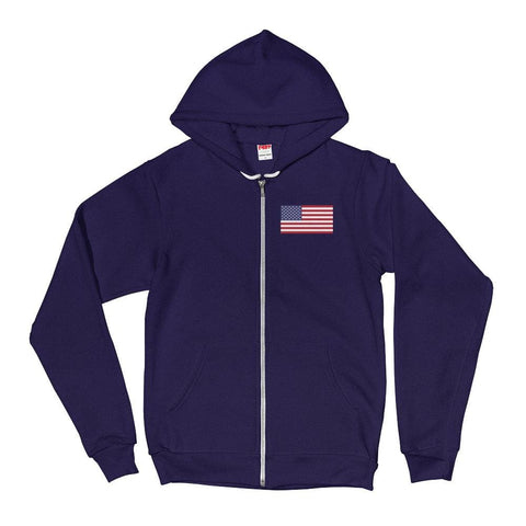 Image of American Flag *MADE IN THE USA* Zip-up Hoodie - Navy / XS