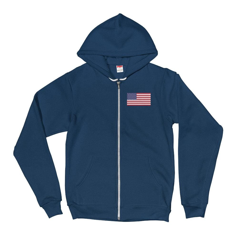 American Flag *MADE IN THE USA* Zip-up Hoodie - Sea Blue / XS