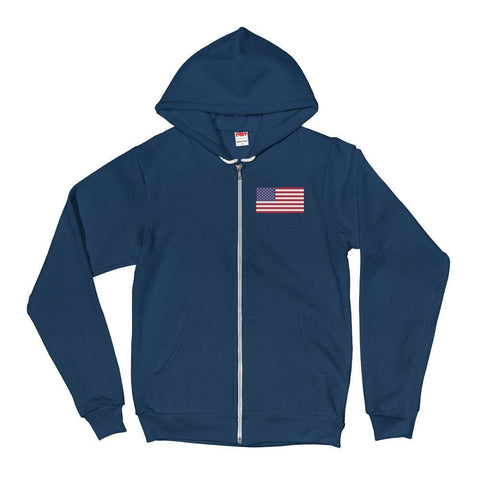 Image of American Flag *MADE IN THE USA* Zip-up Hoodie - Sea Blue / XS