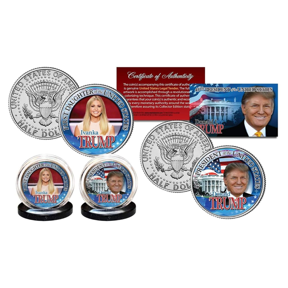 Donald Trump & Ivanka Trump LEGAL TENDER Half Dollar Coins with C.O.A. (2-Piece Set)