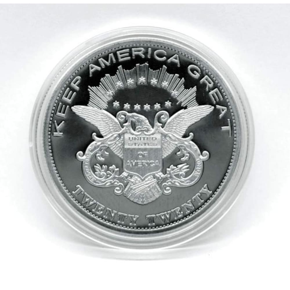 DONALD TRUMP KEEP AMERICA GREAT 2020 Coin - Silver-Plated Commemorative Collectors Edition In Acrylic Capsule - Trump Coins and Currency