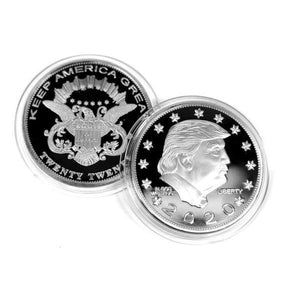 DONALD TRUMP KEEP AMERICA GREAT 2020 Coin - Silver-Plated Commemorative Collectors Edition In Acrylic Capsule