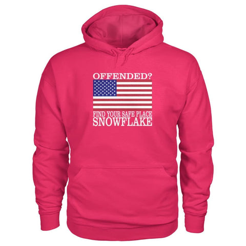 Image of Find Your Safe Place Snowflake Hoodie - Heliconia / S / Gildan Hoodie - Hoodies