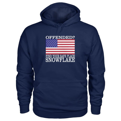 Image of Find Your Safe Place Snowflake Hoodie - Navy / S / Gildan Hoodie - Hoodies