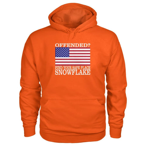 Image of Find Your Safe Place Snowflake Hoodie - Orange / S / Gildan Hoodie - Hoodies