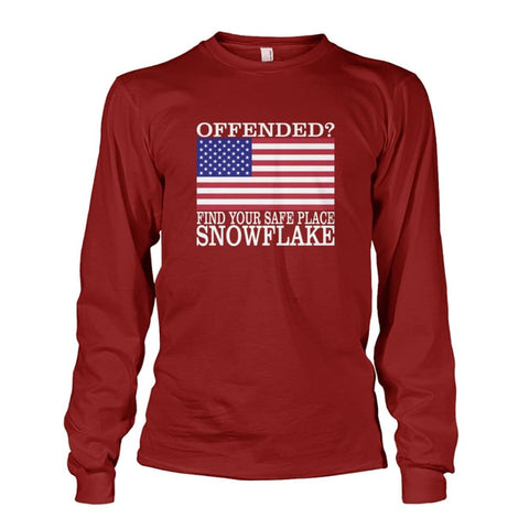 Image of Find Your Safe Place Snowflake Long Sleeve - Cardinal Red / S / Unisex Long Sleeve - Long Sleeves