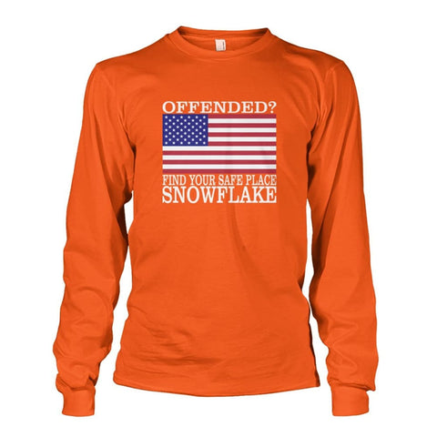 Image of Find Your Safe Place Snowflake Long Sleeve - Orange / S / Unisex Long Sleeve - Long Sleeves