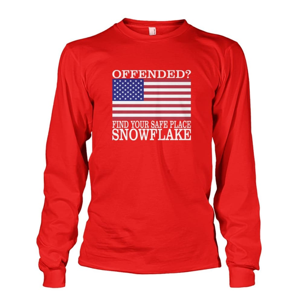 Find Your Safe Place Snowflake Long Sleeve - Red / S / Unisex Long Sleeve - Long Sleeves