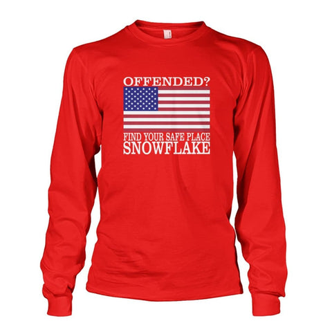 Image of Find Your Safe Place Snowflake Long Sleeve - Red / S / Unisex Long Sleeve - Long Sleeves
