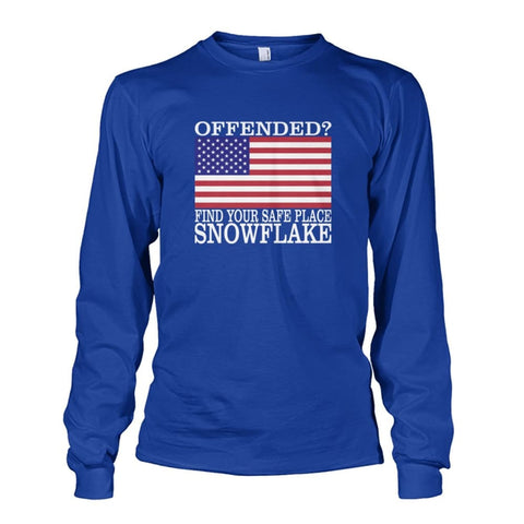 Image of Find Your Safe Place Snowflake Long Sleeve - Royal / S / Unisex Long Sleeve - Long Sleeves