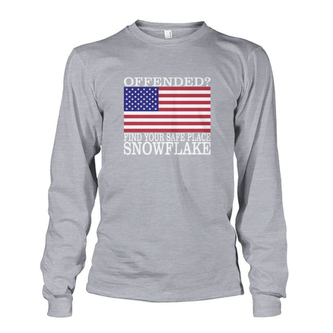 Image of Find Your Safe Place Snowflake Long Sleeve - Sports Grey / S / Unisex Long Sleeve - Long Sleeves