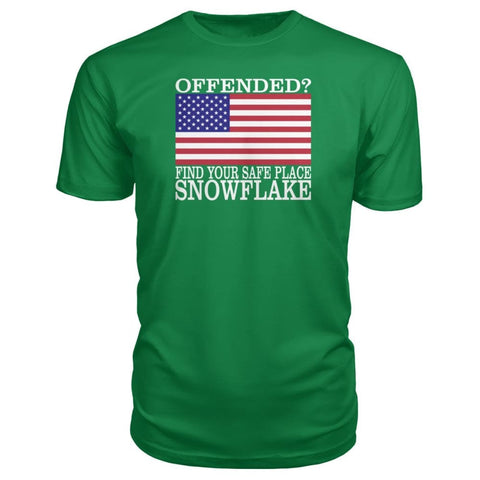 Image of Find Your Safe Place Snowflake Premium Tee - Kelly Green / S / Premium Unisex Tee - Short Sleeves