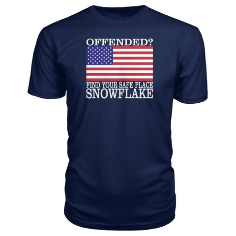 Image of Find Your Safe Place Snowflake Premium Tee - Navy / S / Premium Unisex Tee - Short Sleeves