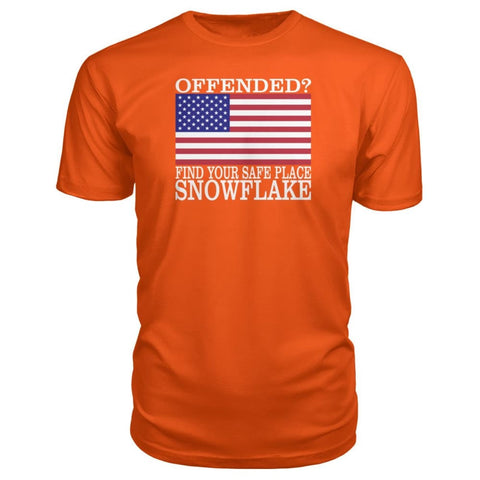 Image of Find Your Safe Place Snowflake Premium Tee - Orange / S / Premium Unisex Tee - Short Sleeves