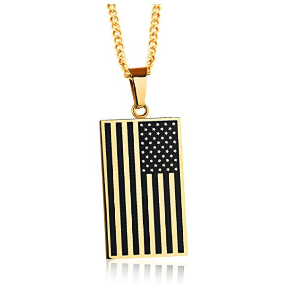 Free - American Flag USA Patriot Freedom Stars and Stripes Dog Tag Rectangle Pendant Necklace - Gold