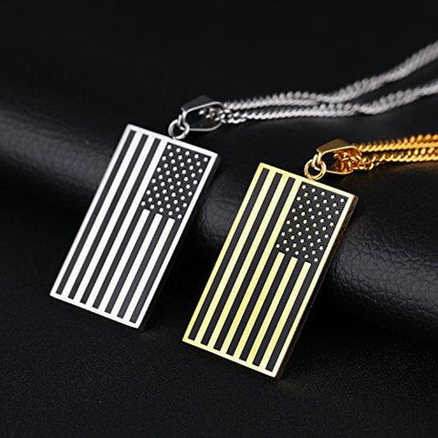Image of Free - American Flag USA Patriot Freedom Stars and Stripes Dog Tag Rectangle Pendant Necklace