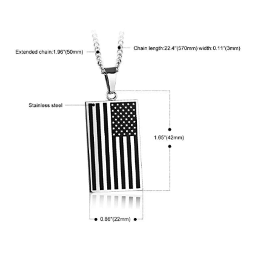 Free - American Flag USA Patriot Freedom Stars and Stripes Dog Tag Rectangle Pendant Necklace