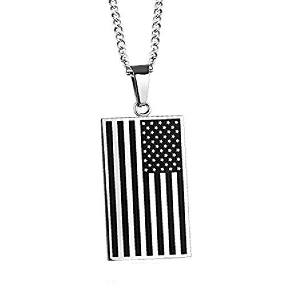 Free - American Flag USA Patriot Freedom Stars and Stripes Dog Tag Rectangle Pendant Necklace - Silver