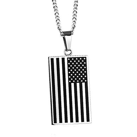 Image of Free - American Flag USA Patriot Freedom Stars and Stripes Dog Tag Rectangle Pendant Necklace - Silver