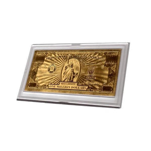 Gold Million Dollar Bill Commemorative With Currency Stand