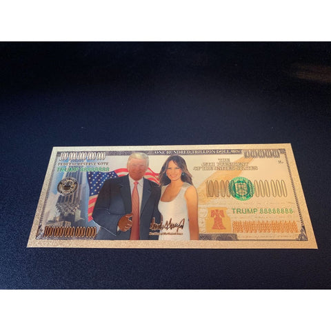 Image of Gold Plated Donald And Melania Trump Commemorative Bank Note