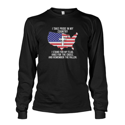 Image of I Take Pride In My Country Long Sleeve - Black / S / Unisex Long Sleeve - Long Sleeves