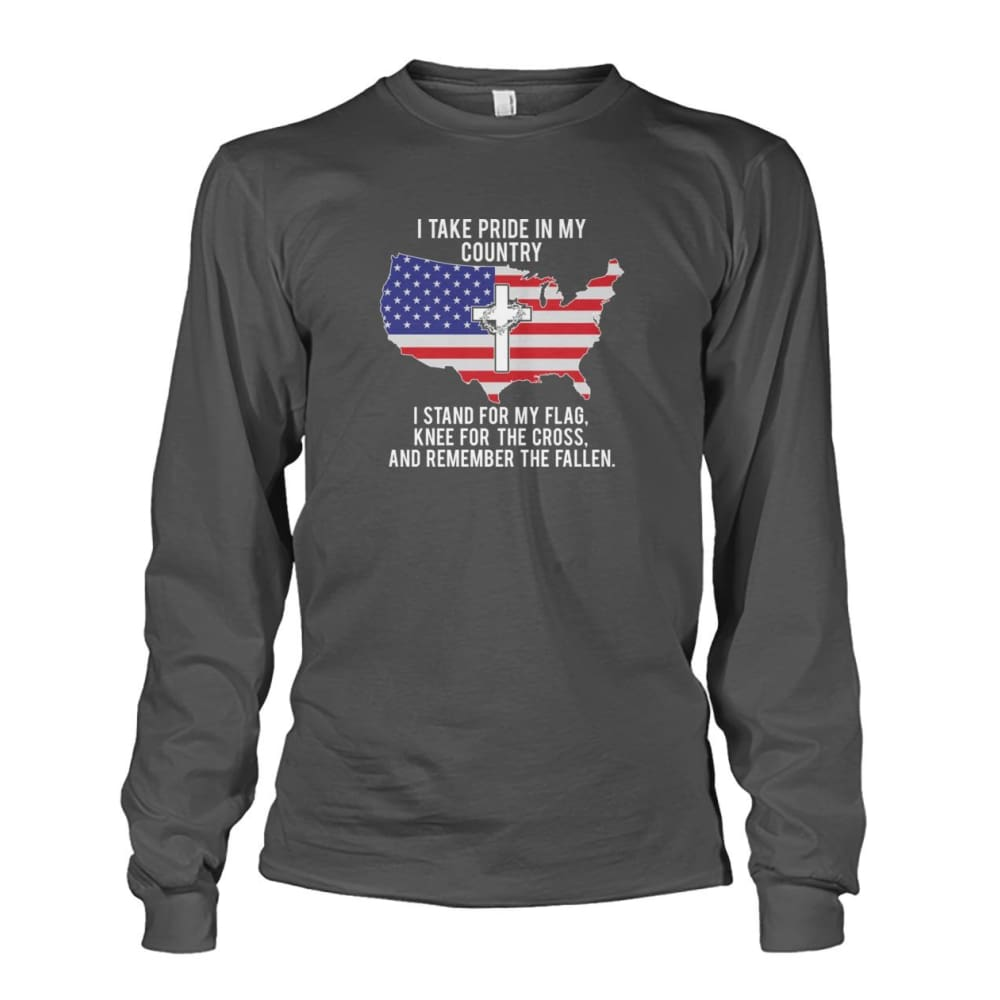 I Take Pride In My Country Long Sleeve - Charcoal / S / Unisex Long Sleeve - Long Sleeves