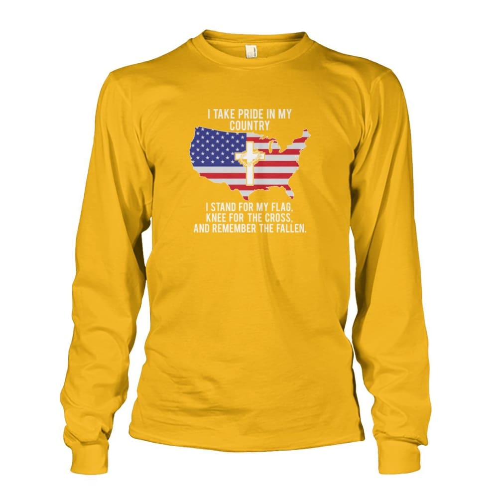 I Take Pride In My Country Long Sleeve - Gold / S / Unisex Long Sleeve - Long Sleeves