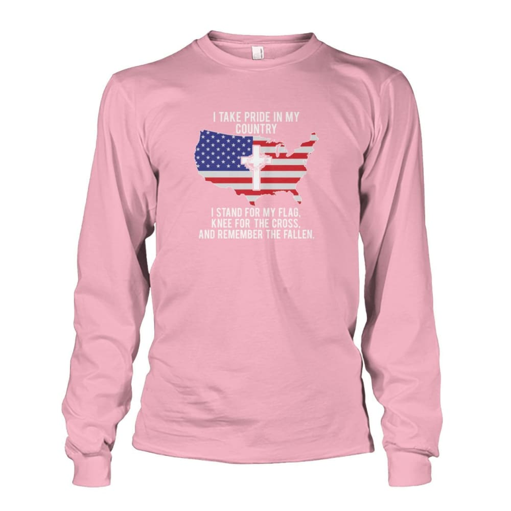 I Take Pride In My Country Long Sleeve - Light Pink / S / Unisex Long Sleeve - Long Sleeves