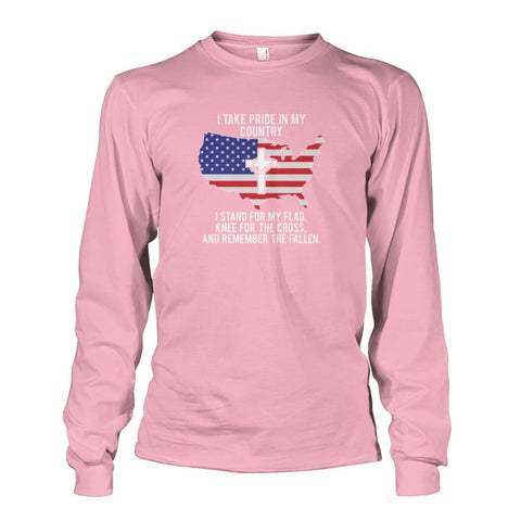Image of I Take Pride In My Country Long Sleeve - Light Pink / S / Unisex Long Sleeve - Long Sleeves