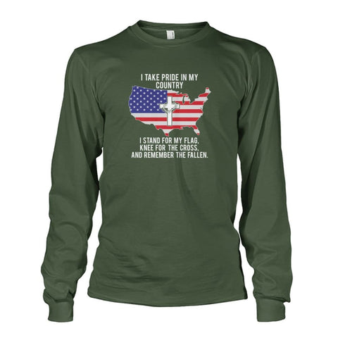 Image of I Take Pride In My Country Long Sleeve - Military Green / S / Unisex Long Sleeve - Long Sleeves