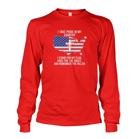 Image of I Take Pride In My Country Long Sleeve - Red / S / Unisex Long Sleeve - Long Sleeves