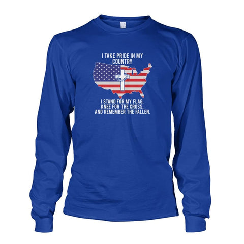 Image of I Take Pride In My Country Long Sleeve - Royal / S / Unisex Long Sleeve - Long Sleeves