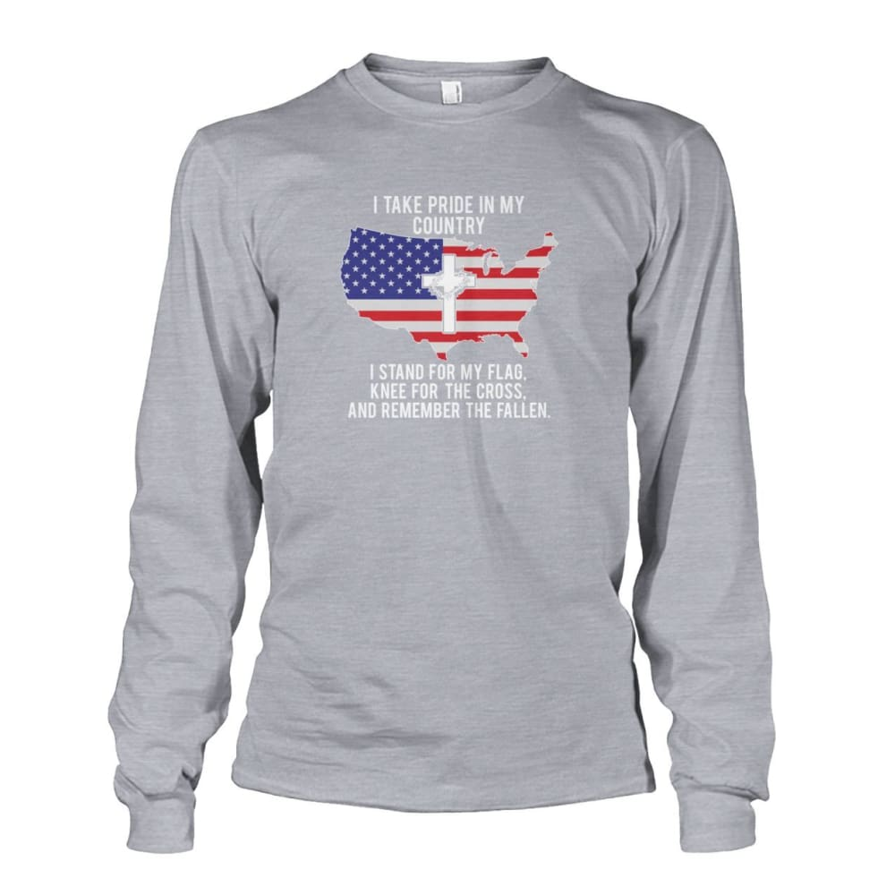 I Take Pride In My Country Long Sleeve - Sports Grey / S / Unisex Long Sleeve - Long Sleeves
