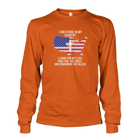 Image of I Take Pride In My Country Long Sleeve - Texas Orange / S / Unisex Long Sleeve - Long Sleeves