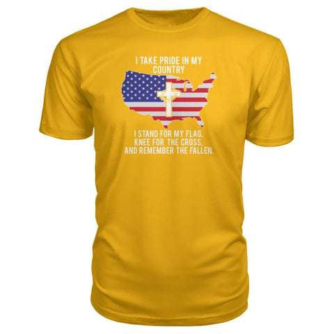 Image of I Take Pride In My Country Premium Tee - Gold / S / Premium Unisex Tee - Short Sleeves