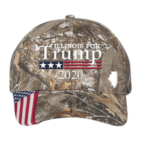 Illinois For Trump 2020 *MADE IN THE USA* Hat - Mossy Oak Country