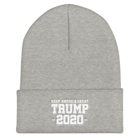 Keep America Great Trump 2020 Cuffed Beanie - Heather Grey