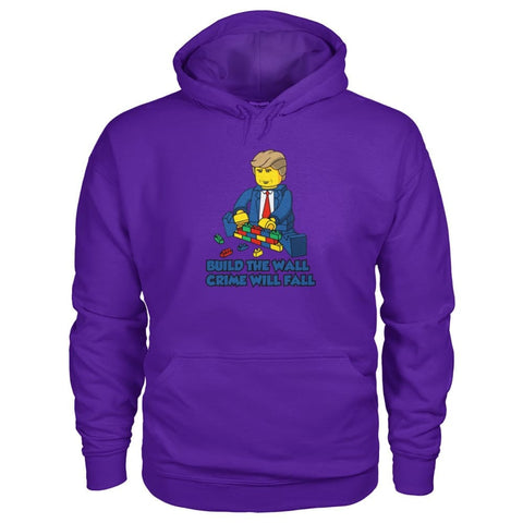 Image of Lego Build The Wall Crime Will Fall Hoodie - Purple / S / Gildan Hoodie - Hoodies