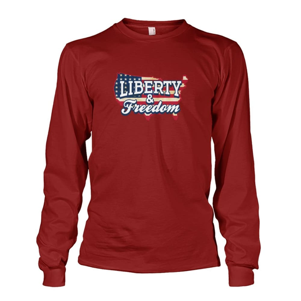 Liberty & Freedom Long Sleeve - Cardinal Red / S - Long Sleeves
