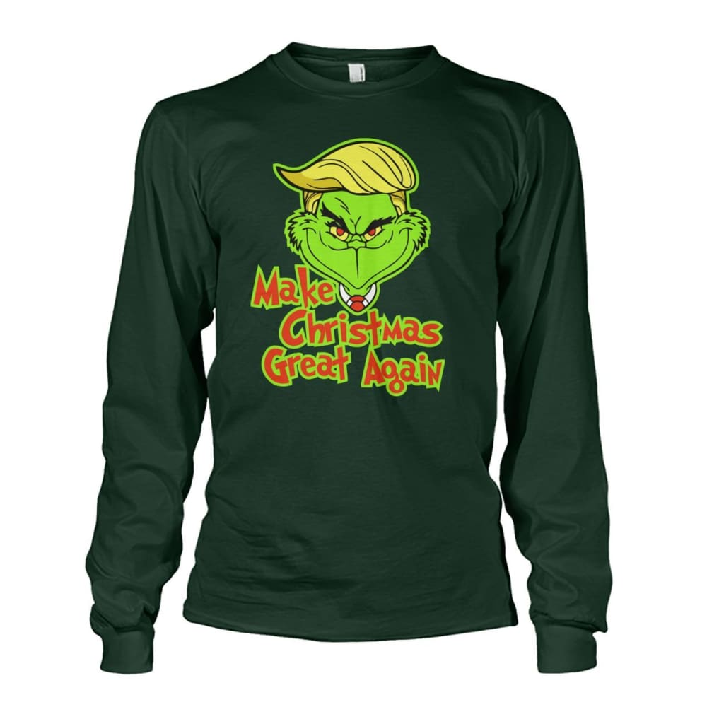 Make Christmas Great Again Long Sleeve - Forest Green / S / Unisex Long Sleeve - Long Sleeves