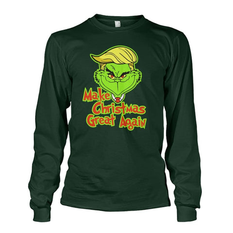 Image of Make Christmas Great Again Long Sleeve - Forest Green / S / Unisex Long Sleeve - Long Sleeves