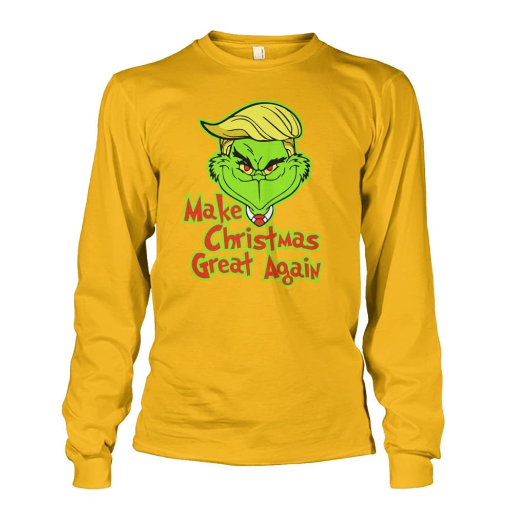 Make Christmas Great Again Long Sleeve - Gold / S / Unisex Long Sleeve - Long Sleeves
