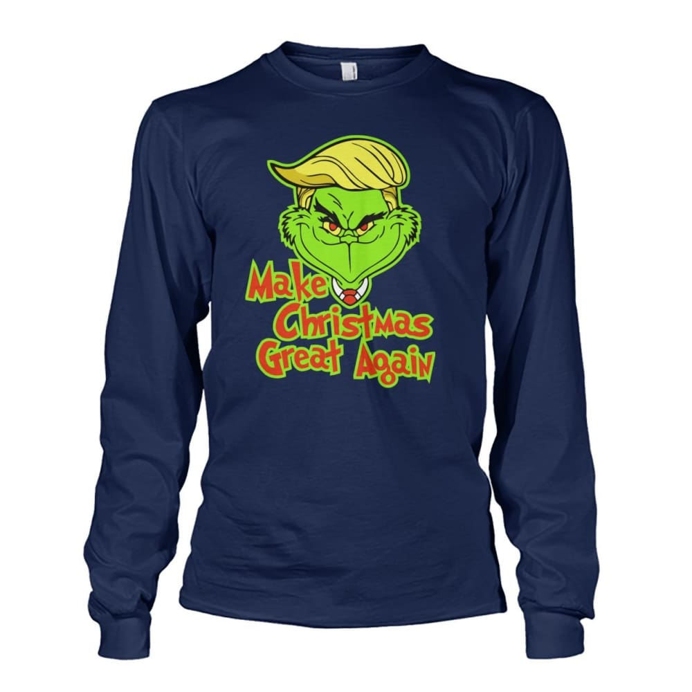 Make Christmas Great Again Long Sleeve - Navy / S / Unisex Long Sleeve - Long Sleeves