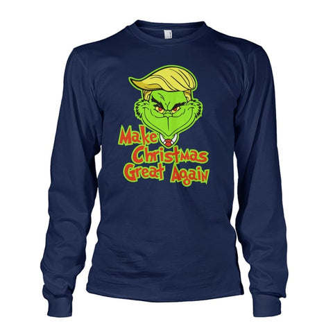 Image of Make Christmas Great Again Long Sleeve - Navy / S / Unisex Long Sleeve - Long Sleeves