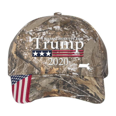 Massachusetts For Trump 2020 *MADE IN THE USA* Hat - Mossy Oak Country